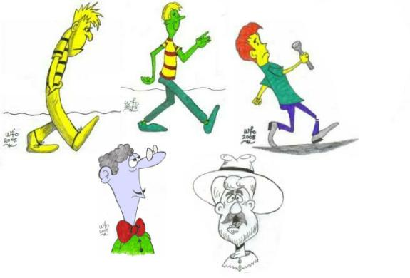The yellow guy walking along sadly is one of my cartoons that excited some praise.  He is modelled on a character drawn by Bruce Blitz.