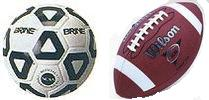 a picture of a  soccer ball and a footbal.