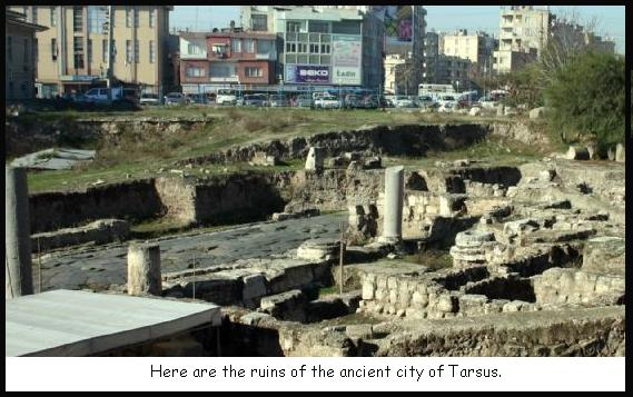 ruins of ancient Tarsus surrounded by the modern city