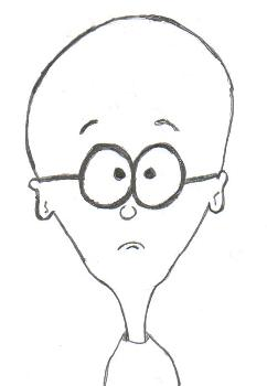 A simple pencil sketch of a bald-headed guy.