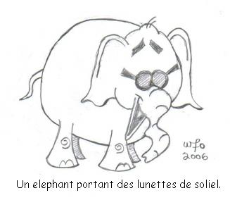Translation: An elephant wearing sunglasses.