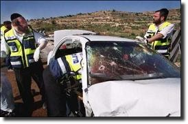 Car of Israeli official assassinated by Hamas terrorists.